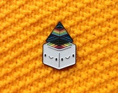Grey Prisma Cube Floater Pin