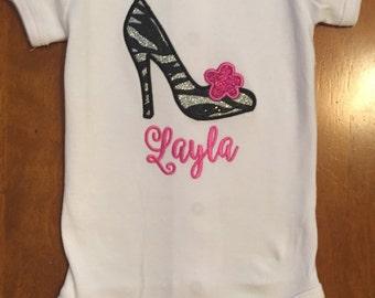Glitter Zebra Diva High Heel Embroidered Shirt or Baby Bodysuit