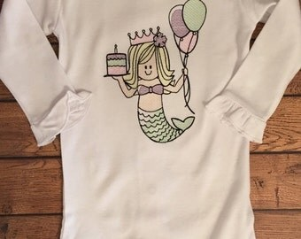 Mermaid Birthday Sketch Embroidery Baby Bodysuit - Ready to Ship