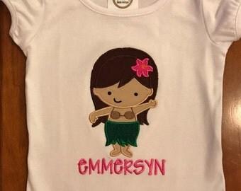 Hula Girl Shirt or Baby Bodysuit