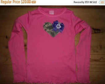 Pink and Purple Army ACU Camo Heart Applique Baby Bodysuit or Shirt