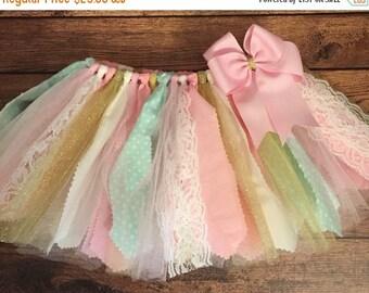 Light Pink, Ivory, Mint, and Gold Scrap Fabric Tutu