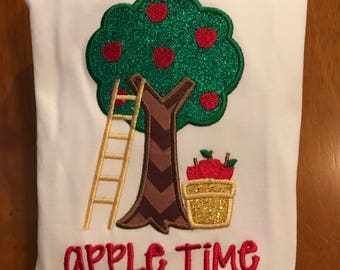 Apple Time Apple Tree Harvest Embroidered Shirt or Baby Bodysuit