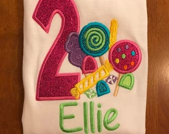 Candy Shop Embroidered Birthday Shirt or Baby Bodysuit