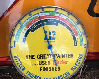 Vintage Advertising Thermometer for Ditzler Paints and Finishes PPG Industries