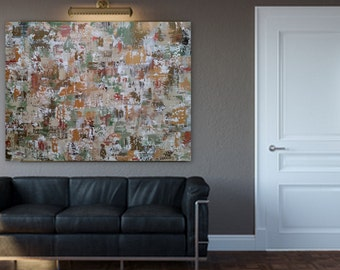 "36x48 ""Imitations"" Large gold sage green bronze copper white original abstract modern painting ready to hang gallery wrapped wood frame"