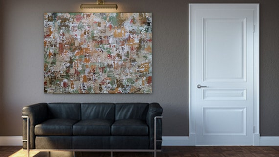 """36x48 """"Imitations"""" Large gold sage green bronze copper white original abstract modern painting ready to hang gallery wrapped wood frame"""