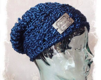 dark navy blue men's or women's slouchy beanie hat, hipster gift hat, men's knit hat, women's knit hat, inspirational quote