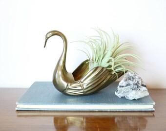 Small Brass Swan, Vintage Swan, Bird Air Plant Holder, Home Decor, Ring Dish, Trinket Dish, Accents, Animals, Planter, Bird Lover Gifts