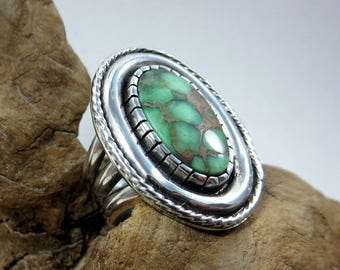 Damele Turquoise and Sterling Silver Ring, size 7-1/2, boho statement ring, Turquoise Southwestern ring