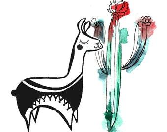 5x5 llama Cacti Geometric Dream Series Botanical Watercolor Art Print