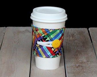 Coffee Cozy in crayons with yellow button