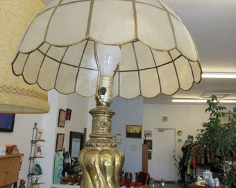 Vintage Capiz Shell Shade And Brass Lamp