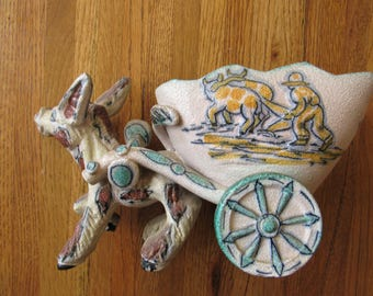 Vintage Italian Hand Painted 2 Dimensional Pottery Donkey and Cart