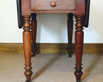 SOLD Vintage Victorian Pembroke table. Vintage dining table, drop leaf table. Mahogany furniture.