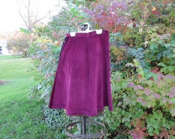 "Vintage 1940s purple corduroy skirt A line waist 25"" (101216)"