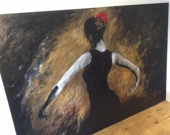Extra Large Acrylic on canvas Spanish Dancer by S Poulton