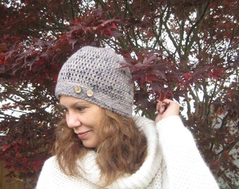 Hand Crocheted Hat - Womens Hat- Adult hat - Brown Button Hat- Womens Beanie - Fashion gifts - Winter Accessories - Hand Made -Button Hat