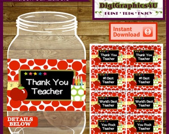 Teacher Appreciation Thank You Mason Jar Labels, Printable File - Instant Download