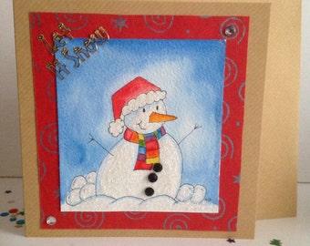 Snowman  Christmas Card, Frosty the Snowman Christmas Card, Childs Christmas Card, Cute Christmas Card, Own Design, Original Art Card.
