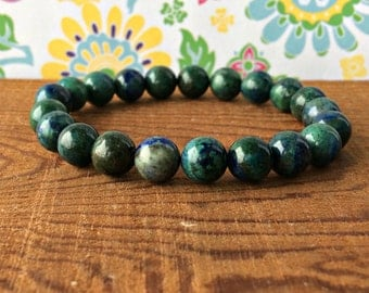 8mm Chrysocolla Fertility Stacking Bracelet, Healing Crystals, Pregnancy Gift, Endometriosis Care -Self-Love & Compassion- Thyroid Support