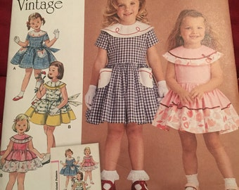 Simplicity 1950s vintage girls dress pattern