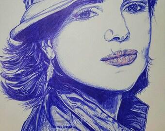 Mama Regal Redo- ballpoint pen portrait once upon a time Lana Parrilla - guardiangraphixx