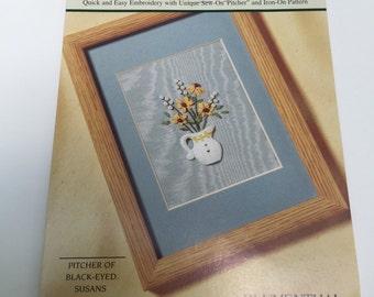 CIJ Craft Kit Ribbon Embroidery Bouquets Pitcher of Black Eyed Susans #1958 by Diane Herbort Blumenthal Lansing Crafts NIB