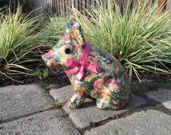 REDUCED Pig Statue, Floral Decoupage Piglet, Spring Garden Piggy, Sitting Piglet Figurine, Pig Garden Decor, Country Cottage Pig Decor