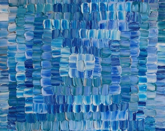 """Blue Lagoon - Contemporary Abstract palette knife painting on 24"""" x 24""""  ~  60 x 60cm box canvas ready to hang. Mosaic art"""