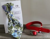Retro Blue/Purple Floral Handmade Smart Dog Tie