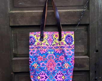Vintage Colorful Ornate Neon Bohemian Canvas Tote with Leather Straps