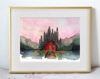 The Northern Experience - Canada Travel Illustration Watercolor Painting Print - Home decor and wall art