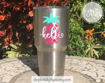 Customized Yeti 30oz Rambler, 30oz Yeti Rambler, Pineapple Yeti Cup, Personalized Pineapple Cup, Custom Yeti, Gift for Wife, Gift for Mom