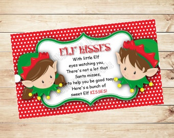 """INSTANT DOWNLOAD - Elf Kisses Tag 2""""x3.5"""" - Christmas Treat Tag - Tag Printable - Gift Bag Tags - Red Green - Candy Bag"""