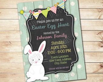Personalized Easter Egg Hunt Invitation - Digital File or Printed Copies- Boy or Girl Invitation - Easter Invite - 5x7 or 4x6