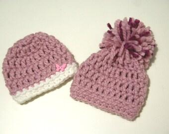 Pink newborn hat, baby girl hat crochet, newborn baby beanie, newborn beanie, pom pom hat, newborn photo prop