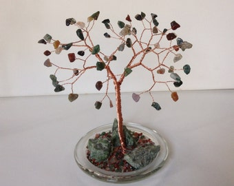 Gemstone Tree Wire Sculpture. Diopside & Indian Agate Tree of Life Crystal Ornament. Green, red and brown tree. Copper Wire Sculpture