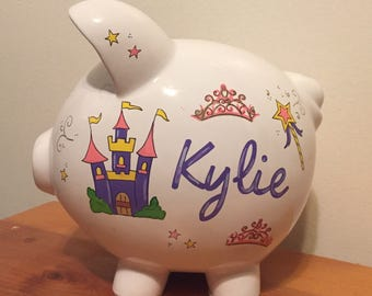 Personalized Girls Princess Piggy Bank