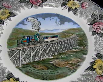 Cog Railway White Mountains New Hampshire, Old English Staffordshire Ware Souvenir Collectible Vintage Plate, Cottage Chic Plate