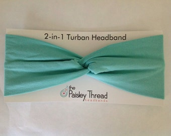 Mint Stretchy Cotton Turban Headband