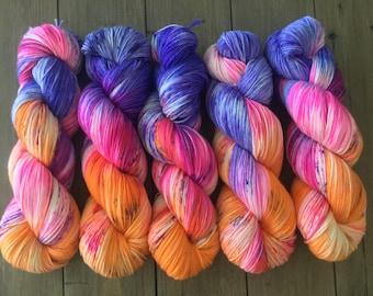 Sock Yarn Superwash Merino/Nylon 85/15 4ply Handdyed Yarn: TANG WITH A BANG