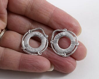 2 Matte Rhodium Plated Life Ring Charms, Silver Charms, Life Ring Charms, Boat Charms, Life Ring Pendants