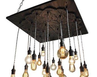 BIG SALE Black Industrial Tin Chandelier - Vintage Metal Chandelier With Nostalgic Bulbs