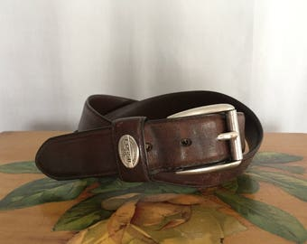 Brown Leather Belt Silver Buckle Vintage Distressed Fossil size 40