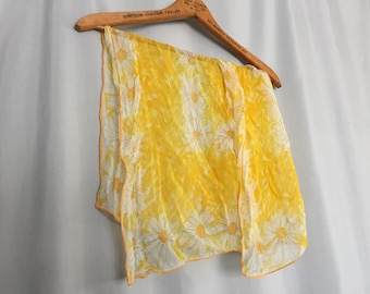 Yellow Floral Vera Neumann Vintage Scarf White Sheer Square