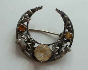 H/M Scottish silver and citrine brooch