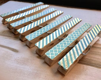 Teal and Gold Magnets, Striped Clothespin Magnets, Turquoise Fridge Magnets, Teal Decorated Clothespins, Organizing Clothespins