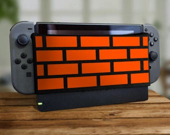 Switch Dock Sock Brick Wall Video Game Screen Protector Cozy Tablet Protection Soft Plush Docking Nerd Cover Pixel Housing Joy Retro Gaming
