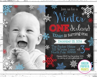 Boy's Winter Onederland Invitation - Digital File - Printable - Blue and Teal - Snowflake - Boy's First Birthday Invitation, Blue, Red